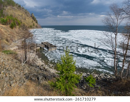 Baikal in the south almost melted - stock photo