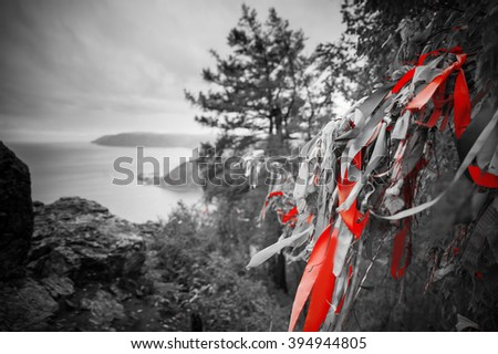 Baikal ribbons on the tree. Photo black and white with red - stock photo