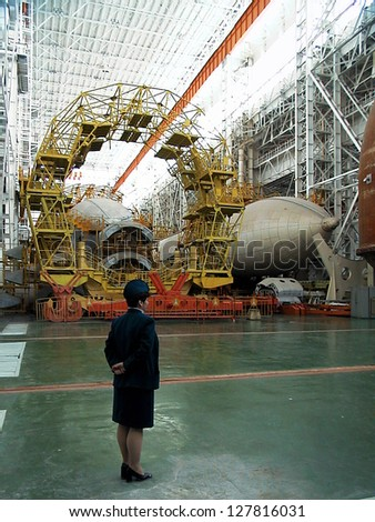 BAIKONUR COSMODROME - OCTOBER 29:  The interior of the vehicle assembly building housing Russia's Buran space shuttle and Energia rocket in Baikonur, Kazakhstan, on October 29, 2000.