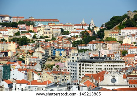 Baixa district of Lisbon, from Miradouro de Sao Pedro de Alcantara, Portugal