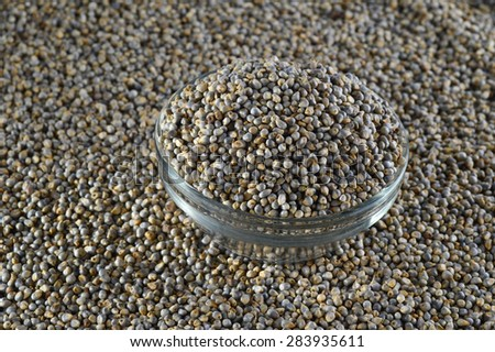 Bajra (Pearl millet) in glass bowl