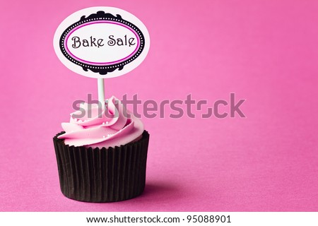 Bake sale cupcake with space for copy - stock photo