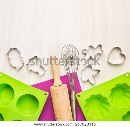 Bake tools with cake mould  and on white wooden background,top view  - stock photo