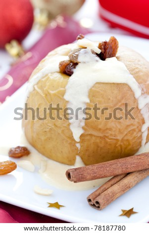 baked apple with cinnamon and raisin
