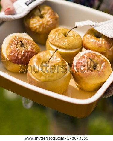 baked apples homemade - stock photo