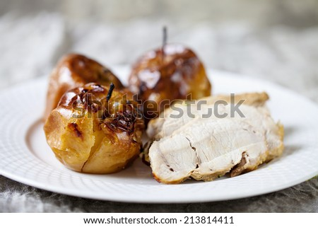 Baked apples with pork