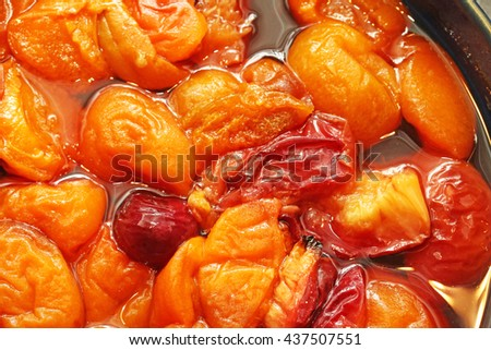 Baked apricots, plums and cherries - stock photo