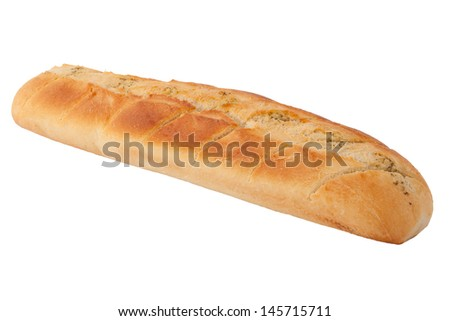 Baked baguette with garlic butter - white background isolated - stock photo