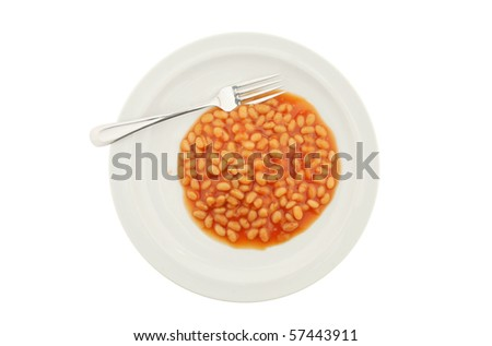 Baked beans and a fork on a plate isolated on white - stock photo