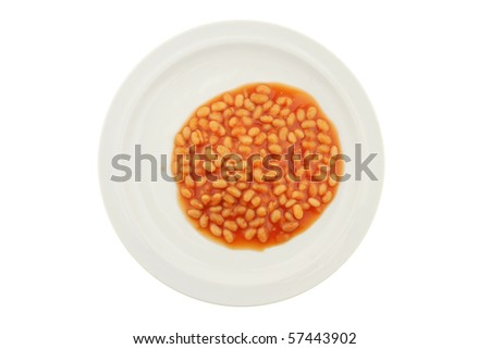 Baked beans on a plate isolated against white - stock photo