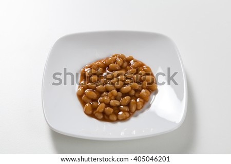Baked beans on a white plate