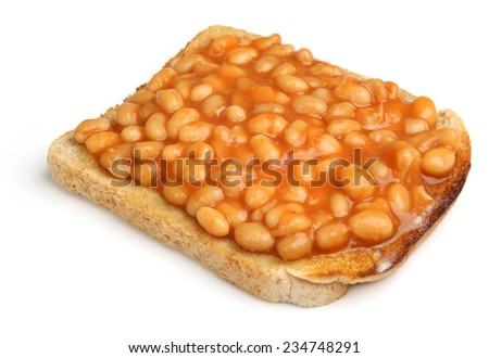Baked beans on toast, isolated on white. - stock photo