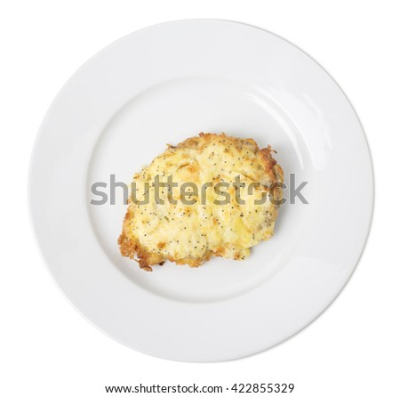 Baked beef chop with cheese. Isolated on a white background.