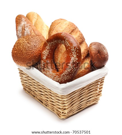 baked bread in basket - stock photo