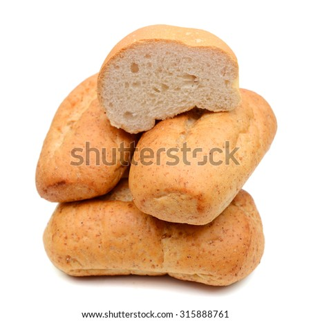 baked bread rolls isolated on white