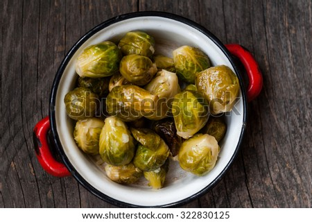 Baked Brussels sprouts - stock photo