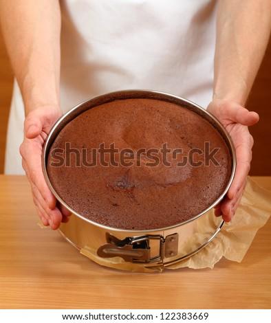 Baked Cake in Springform. Making Chocolate Layer Cake. Series. - stock photo