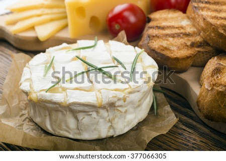 baked camembert - stock photo