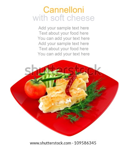 baked cannelloni served with pepper and tomato - stock photo