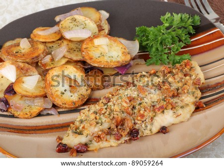 Baked Catfish Fillet With Fried Potatoes And Onions
