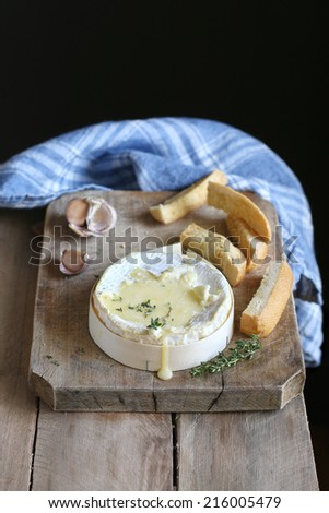 Baked cheese with garlic and thyme - stock photo