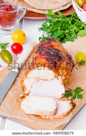 Baked chicken breast (pastrami) in a honey glaze