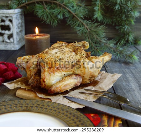 Baked chicken for Christmas or New Year - stock photo