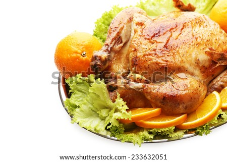 Baked chicken for festive dinner - stock photo