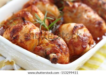 Baked chicken legs - stock photo