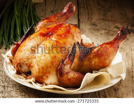 baked chicken on a plate with pita bread - stock photo