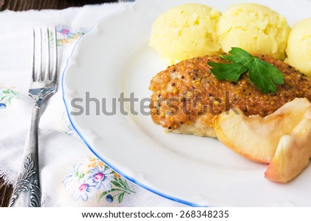 Baked chicken roll with apples, selective focus - stock photo