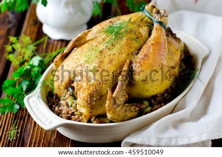 Baked chicken stuffed with buckwheat and zucchini - stock photo