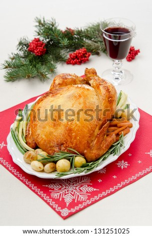 baked chicken with onions, potatoes and rosemary
