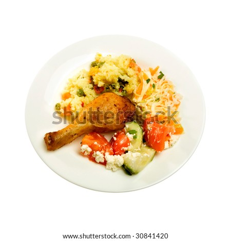 Baked Chicken with salad - stock photo