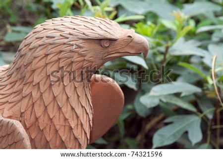 Baked clay eagle, Ayutthaya Thailand - stock photo