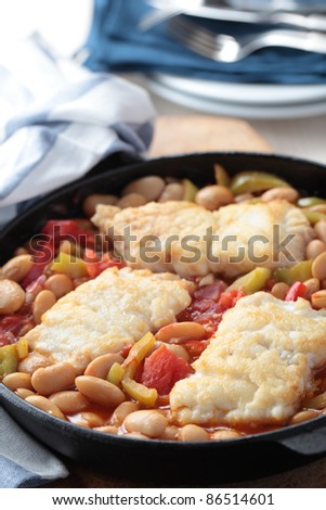 Baked cod fillet with vegetables