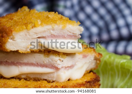 Baked Cordon Bleu - stock photo