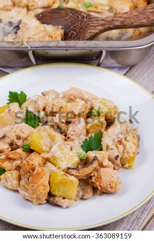 Baked Creamy Chicken, Potato  and Mushrooms