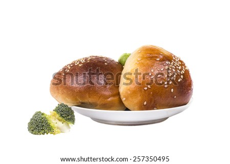 baked delicious hot rolls with cabbage - stock photo