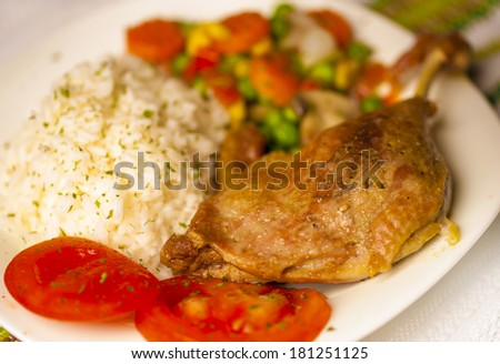 Baked duck with rice and vegetables