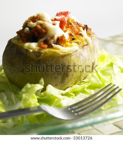 baked filled potato - stock photo