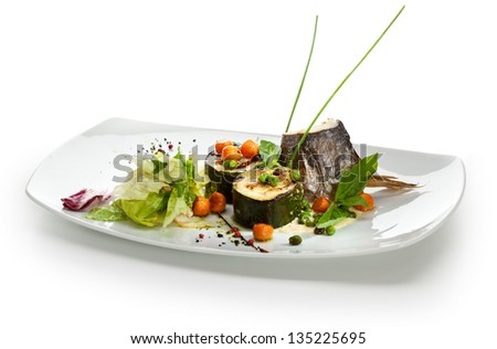 Baked Fillet of Dorado with Zucchini and Cream Sauce