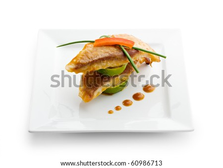 Baked Fish with Lime and Sauce - stock photo