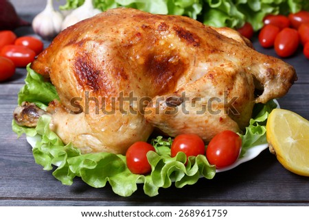 baked fried chicken carcass with vegetables
