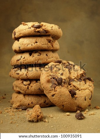 Baked goods (chocolate chip cookies) - stock photo