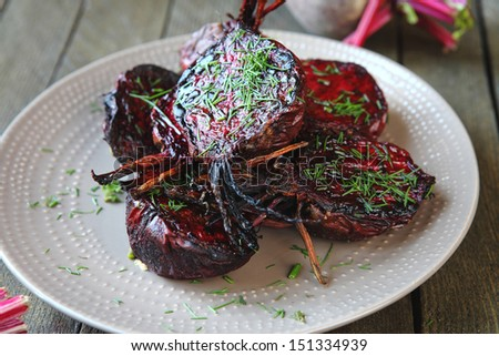 baked halves of young beets, food - stock photo