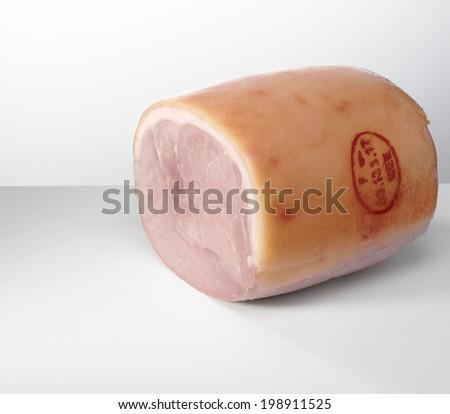 Baked ham on white background.  - stock photo
