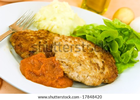 baked hamburger with tomato sauce,salad