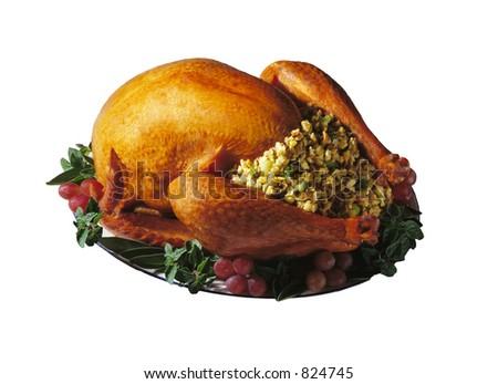 Baked Holiday Turkey on platter with garnish isolated over white - stock photo