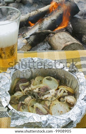 Baked in foil. Beer and potatoes.
